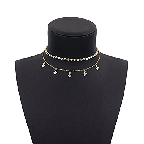 Aikooch Star Charm Double Layer Choker Necklace for Women Golden Double Star Necklace
