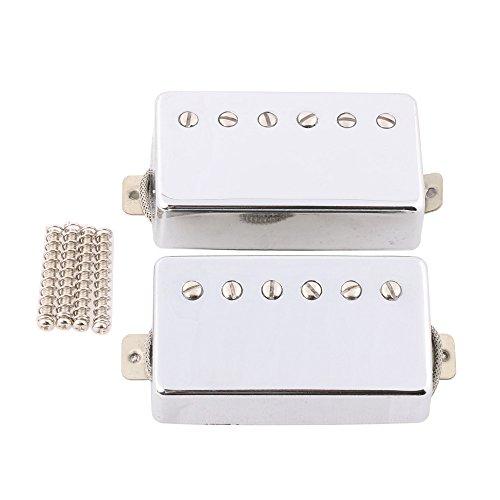 LYWS Alnico 5 Humbucker Pickup Neck Bridge Pickup Set Cupronickel Base Metal Braided wire for Les Paul Guitar Chrome ()