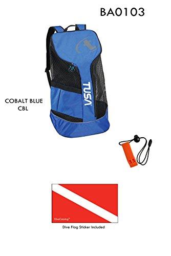 Tusa Mesh Backpack Cobalt Blue CBL & DiveCatalog's Orange Whistle w/Lanyard & Dive Flag Sticker