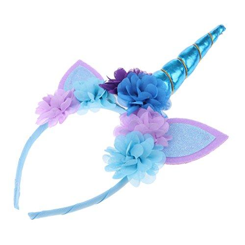 Dolity Brillo Cuerno Cinta de Cabeza Unicornio para Chica Mujeres - Azul