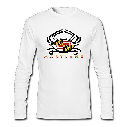 Uiort Maryland Flag Crab O-Neck Men Unique Fitted Political Long Sleeve T-Shirts