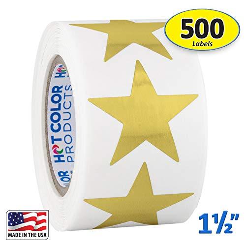 Gold Metallic Star Shape Foil Sticker Labels, 500 Labels per Roll, 1 1/2 inch Diameter, 1.5