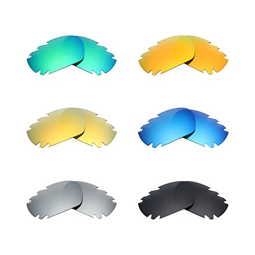 Mryok 6 Pair Polarized Replacement Lenses for Oakley Jawbone Vented Sunglass - Stealth Black/Fire Red/Ice Blue/Silver Titanium/Emerald Green/24K - Black Oakley Jawbone