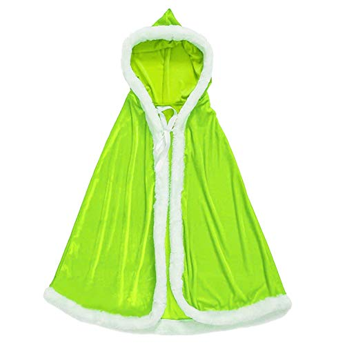 Dasior Girls Christmas Party Mrs. Claus Santa Xmas Velvet Hooded Cape Robe with Fur Trim Lime Green -