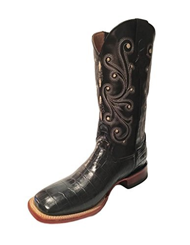 Ferrini Men's Belly Caiman Alligator Print Cowboy Boot Square Toe Black 13 EE US