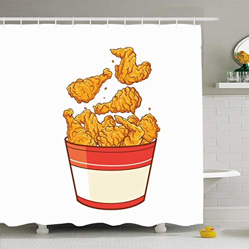 Ahawoso Shower Curtain 72x78 Inches Tasty Yellow Wing Fast Food Fried Chicken Cuisine Meat Drink Meal Bird Bowl Cooking Soda Waterproof Polyester Fabric Set with Hooks ()