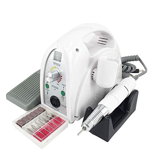 UZMEI 65W 35000RPM Electric Nail File,Nail Drill Machine Acrylic Manicure Tools for Nail Beauty(White)