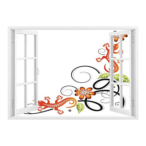 SCOCICI Peel and Stick Fabric Illusion 3D Wall Decal Photo Sticker/Tribal Decor,Small Baby Lizard Flowers and Leaves with Oriental Lines Print,Orange Green Black White/Wall Sticker Mural (Print Lizard Metallic)