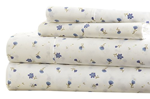 Simply Soft Ultra Soft Floral Patterned 4 Piece Bed Sheet Set, Twin, Light Blue