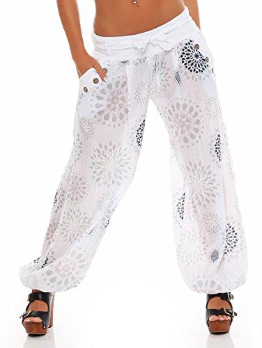 3481 Aladin Sbuffo Bianco Harem Pantaloni Pump Baggy Yoga Taglia estivo Print Boyfriend con Unica Donna Pantaloni malito RYw7Tqn