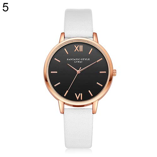 Gyswshh Wrist Watch Band Women's Roman Number Round Dial Faux Leather Casual Quartz White