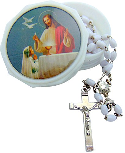 CB Catholic First Holy Communion Rosary Set White Bead Rosary in a Plastic Jesus & Child Case