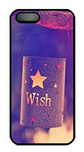 iPhone 5S Case Cover - Quotes Wish Lights PC Hard Case Back Cover for iPhone 5S/5 - Black