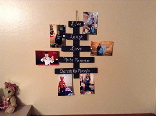 Hanging Photo Display, Rustic Wood Picture Frame Collage, Clothespin Picture Hanger, Clothespin Photo Holder, Gift For Mom, Live Laugh Love