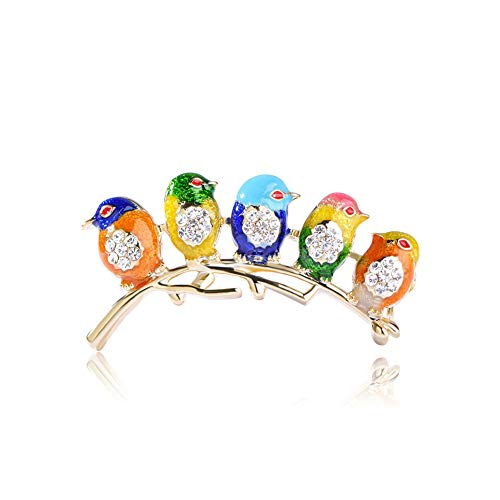 Joji Boutique Five Little Birds Deluxe Bejeweled and Enameled - Bird Enameled Pin
