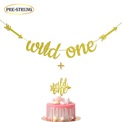 (Fadilo Wild One Gold Glitter Banner Sign with Wild One Cake Topper for Wild One Boho Tribal Themed First Birthday)