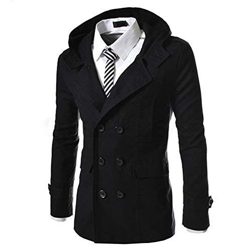 AOWOFS Men's Hooded Trench Coat Double-Breasted Business Windbreaker Jacket Spring Fashion Slim Fit (Black, ()