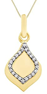 Round Cut White Natural Diamond Teardrop Pendant Necklace In 14k Yellow Gold