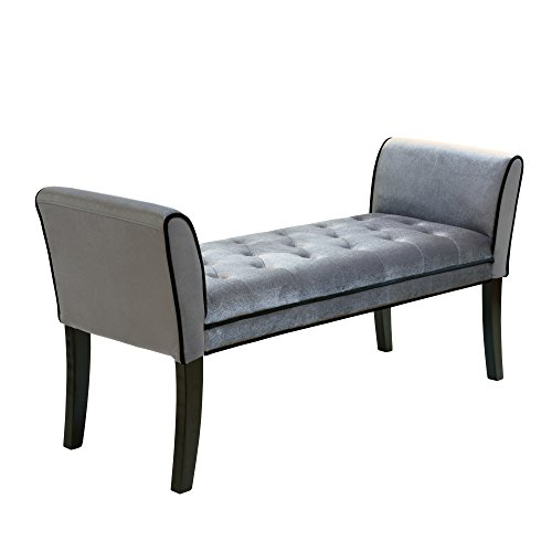 Bench Black Manhattan Storage - Armen Living LC0845BEGR Chatham Bench in Grey Velvet and Black Wood Finish