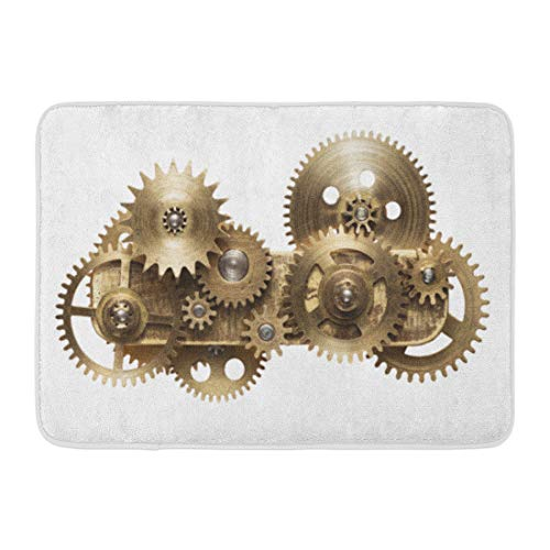 Emvency Doormats Bath Rugs Outdoor/Indoor Door Mat Steampunk Metal Collage of Clockwork Gears Punk Steam Mechanism Clock Bathroom Decor Rug Bath Mat 16