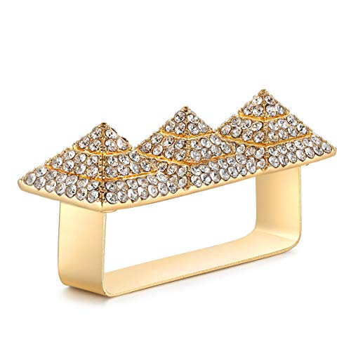 (Qiji Punk Alloy Pyramid Ring Blingbling Rhinestone Hip Hop Rapper Ring Jewelry for Costume Party, Three Finger Size)