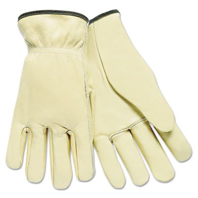 Full Leather Cow Grain Driver Gloves, Tan, Large, 12 Pairs, Sold as 12 Each by Memphis