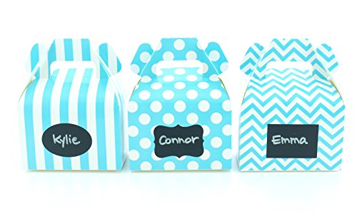 Baby Boy Blue Baby Shower Candy Boxes & Black Label Chalkboard Vinyl Stickers (36 Pack) - Boy Birthday Party Favor Boxes, Personalized Baby Shower Supplies, Boy Baby Shower Party Treat Gable Boxes Labels Square Favor Tins