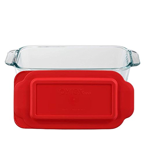Kitchen Basic Red Cover Clear Glass Meat Loaf Pan Oven Dish with Scraper Combo