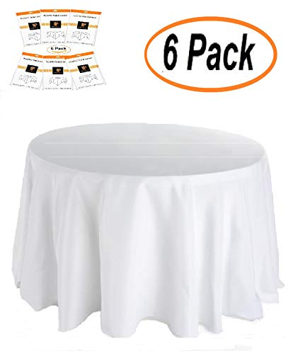 Plastic Tablecloth (6 Pack) Premium Disposable White Tablecloths 84 Inches Round' Party BBQ Birthday Tablecloth Multiuse Table Cover (White Table Round Cloths Paper)