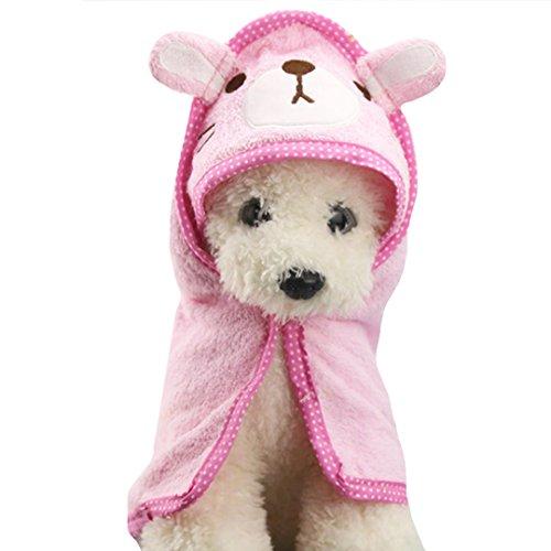 Budd Pet Dog Towel Puppy Cat Cartoon Bath Towel Multifunction Absorbent Dog Large Bathrobe Warm Blanket Pet Doggie Supplies(Pink)