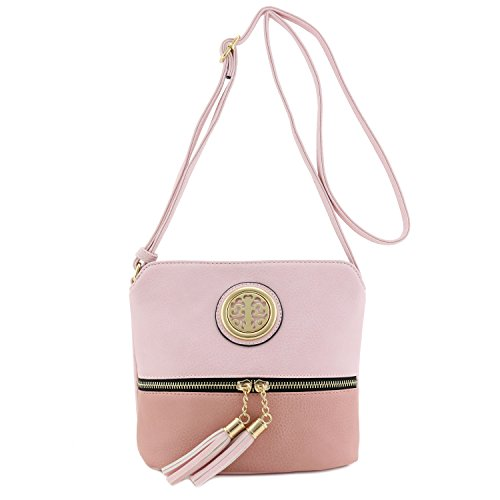 Tassel Accent - Tassel Accent Colorblock Small Crossbody Bag with Emblem Blush/Mauve