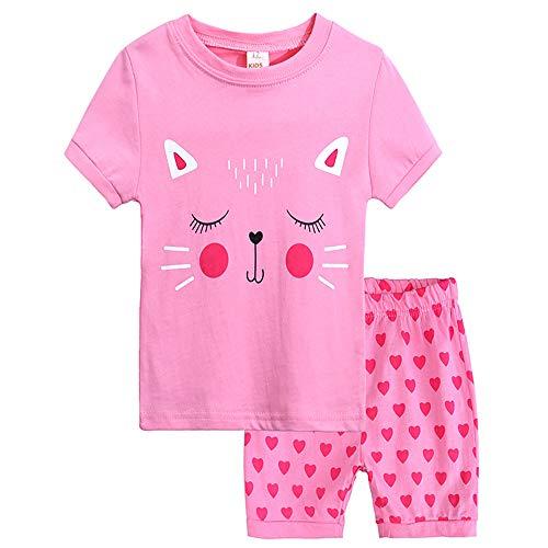 Popshion Girls Short Sleeve Pajamas Set Kids Short Pjs Sets Baby Summer Cotton Sleepwears Size 2-9 Years