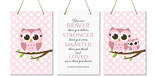 LifeSong Milestones You are Braver Than You Believe 3 Piece Owl Childrens Wall Decor Signs for Kids, Bedroom, Nursery, Baby's Boys, Girls Room, Size 8