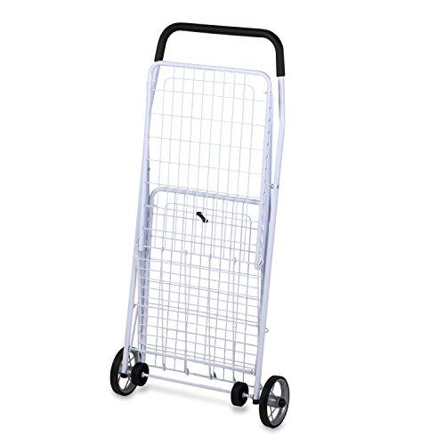 Honey-Can-Do CRT-01513 Large Folding Shopping Cart Rolling 4-Wheel Utility Wagon, White - Folding Wheeled Cart