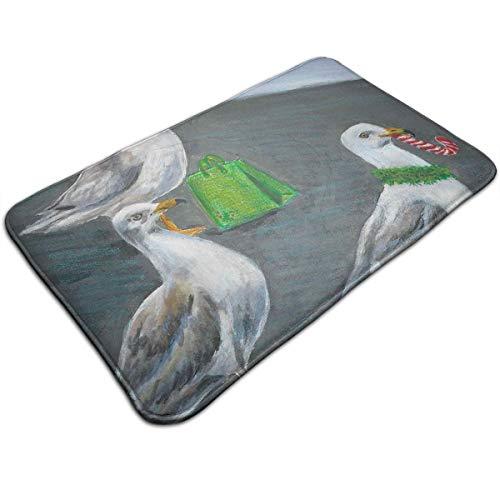 Kui Ju Non-Slip Doormat Entrance Rug Fade Resistant Floor Mats Seagull Shopper Shoes Scraper 23.6x15.7x0.39Inch