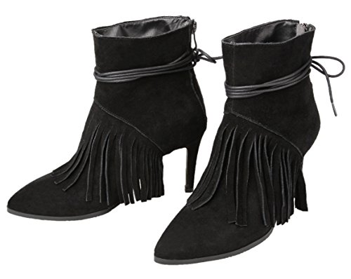 Black Women's Tassel Nubuck 3 Stiletto Boots HooH F16 Ankle 8qdz6E8Hw