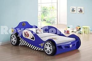 Blue Kids Racing Car Beds Frame Childrens Toddler Bed ...