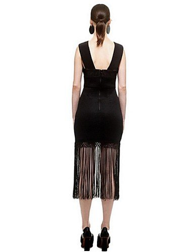 PU&PU Robe Aux femmes Gaine Street Chic,Couleur Pleine A Bretelles Midi Polyester , black-m , black-m