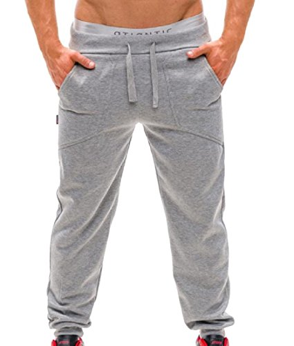 Coolred-Men Pocket Stylish Fit Baggy Solid Harem Trousers Sweatpants Light Grey XL