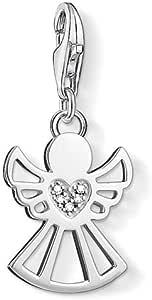 Thomas Sabo - Colgante Charm Angel con Corazón Mujer, Plata de Ley 925 con Diamante: Amazon.es: Joyería