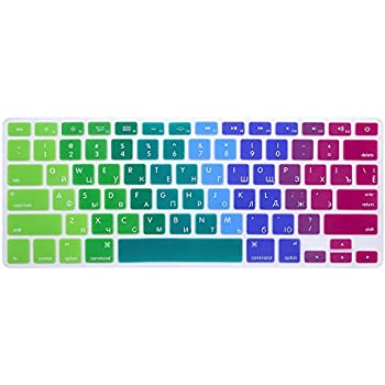 """HRH Russian Silicone Keyboard Cover Skin for MacBook Air 13"""" MacBook Pro with or without Retina Display 13""""15"""" 17"""" Apple Wireless Bluetooth Keyboard MC184LL/B US Version Russian/English-Rainbow"""