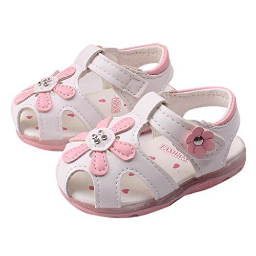 Igemy 1Paar Baby Kinder Kleinkind Sonnenblume Mädchen Sommer beleuchtete Soft-Soled Prinzessin Schuhe Weiß