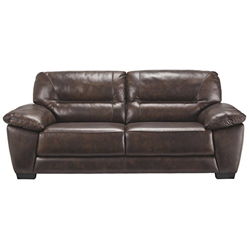 Ashley Furniture Signature Design - Mellen Contemporary Leather Sofa -  Walnut Brown