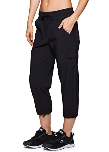 Cargo Pants Capri (RBX Active Women's Lightweight Body Cargo Drawstring Woven Pant Black L)