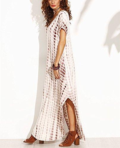 Vestido de mujer, Lananas 2018 Cuello en V Suelto Casual Maxi Manga corta Tie Dye dividido Lados Abertura Vestido largo Long Dress: Amazon.es: Ropa y ...