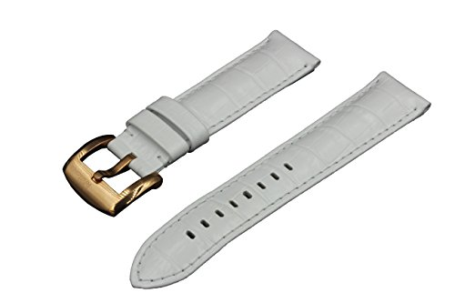 SWISS REIMAGINED Watch Band White Leather Brushed Steel Rose Gold Buckle - 22mm