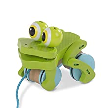 Melissa & Doug First Play Frolicking Frog Wooden Pull Toy, Multicolor