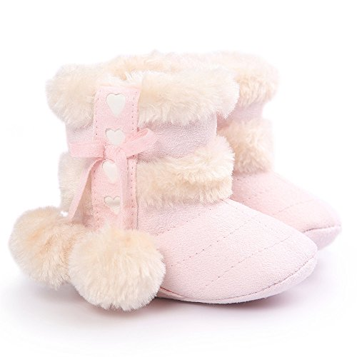 Voberry Baby Toddler Girls Knit Soft Winter Warm Snow Boot Fur Trimmed Pom Pom Boots (0~6M, Pink)
