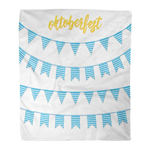 Golee Throw Blanket Oktoberfest Buntings for Garland of Bavarian Checkered Blue Flag 60x80 Inches Warm Fuzzy Soft Blanket for Bed -