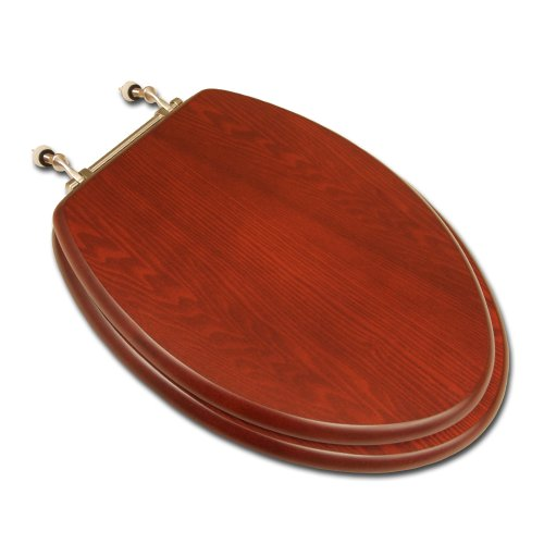 - Comfort Seats C1B2E1-15BN Decorative Oak Wood Elongated Toilet Seat with Brushed Nickel Hinges, American Cherry